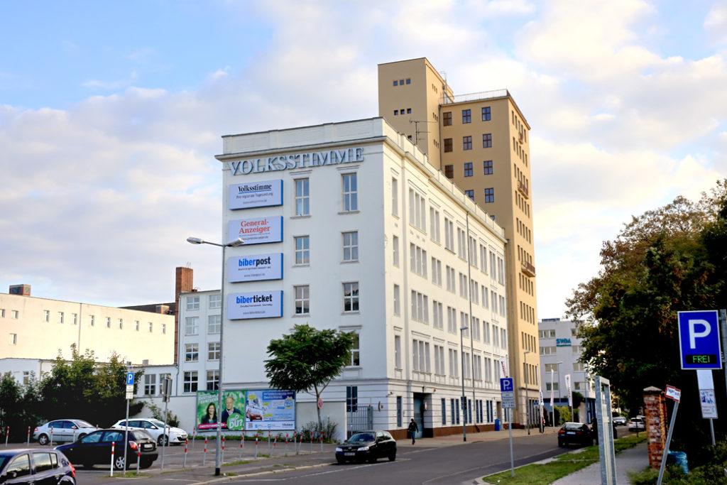 Zentraler Firmensitz der Mediengruppe Magdeburg in der Bahnhofstraße