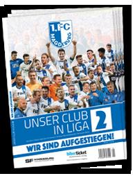 """Titelseite """"Unser Club in Liga 2"""" - Magazin zum FCM-Aufstieg"""