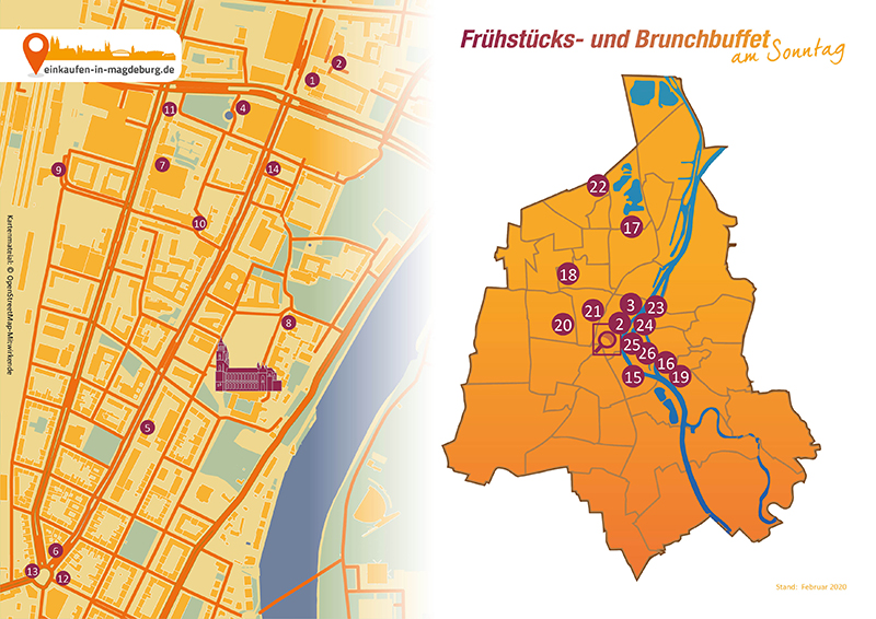 Brunch Karte mit allen Brunch Locations in Magdeburg